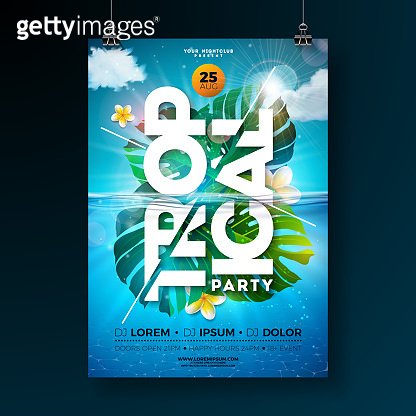 Tropical Summer Party Flyer Design Template with exotic palm leaves and flower on blue underwater ocean background. Vector holiday illustration for banner, invitation or celebration poster.
