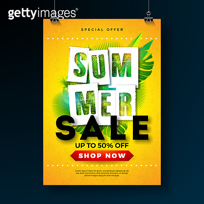 Summer Sale Poster Design Template with Tropical Palm Leaves and Typography Letter on Yellow Background. Vector Holiday Illustration for Special Offer, Coupon, Voucher, Banner, Flyer, Promotional Poster, Invitation or Greeting Card.