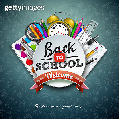 Back to school design with colorful pencil, scissors, ruler and typography letter on chalkboard background. Vector illustration with education elements and hand drawn doodles for greeting card, banner, flyer, invitation, brochure or promotional poster.