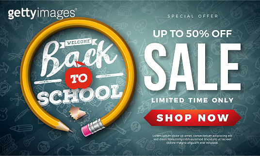 Back to School Sale Design with Graphite Pencil and Typography Letter on Black Chalkboard Background. Vector Education Concept Illustration for Special Offer, Coupon, Voucher, Banner, Flyer, Poster, Invitation or greeting card.