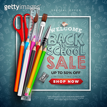 Back to School Sale Design with Colorful Pencil, Brush, Scissors and Typography Letter on Chalkboard Background. Vector Illustration for Special Offer, Coupon, Voucher, Banner, Flyer, Poster, Invitation or Greeting Card.