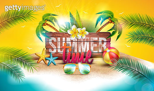 Vector Summer Time Holiday Illustration with Typography Letter on Vintage Wood Board Background. Tropical Plants, Flower, Beach Ball and Sunglasses on Paradise Island for Banner, Party Flyer, Invitation, Brochure, Poster or Greeting Card.