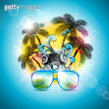 Summer Holiday Design with Speaker and Sunglasses on Blue Background. Vector Illustration with Tropical Palm Trees and Sunset for Banner, Flyer, Invitation, Brochure, Poster or Greeting Card.