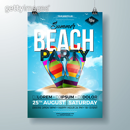 Vector Summer Party Flyer Design with Colorful Flip-Flop and Tropical Island on Ocean Blue Background. Summer Holiday Celebration Design template with Typography Letter for Banner, Flyer, Invitation, Poster.