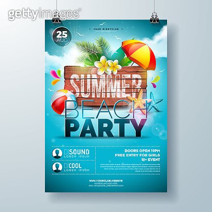 Vector Summer Beach Party Flyer Design with Flower, Palm Leaves and Starfish on Ocean Blue Background. Summer Holiday Illustration with Vintage Wood Board, Tropical Plants and Cloudy Sky for Banner, Flyer, Invitation or Poster.