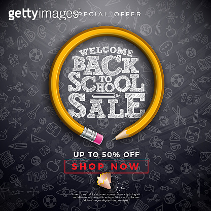 Back to School Sale Design with Graphite Pencil, Brush and Typography Letter on Black Chalkboard Background. Vector Education Concept Illustration for Special Offer, Coupon, Voucher, Banner, Flyer, Poster, Invitation or greeting card.