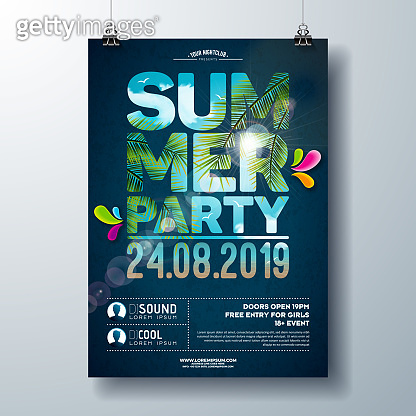 Summer Party Flyer Design with palm trees and ocean landscape in cutting Typography Letter. Vector Summer nature floral elements and tropical plants on blue cloudy sky background. Design template for banner, flyer, invitation, poster.