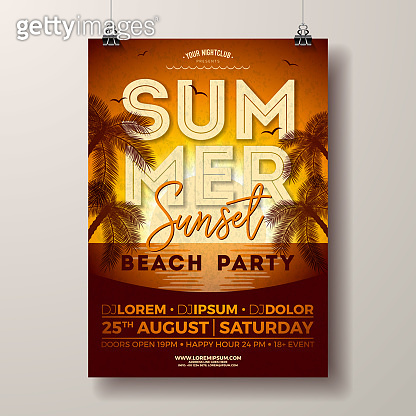 Vector Summer Party Flyer Design with Palm Trees and Ocean on Sunset Landscape Background. Summer Holiday Illustration Template with Tropical Plants and Typography Letter for Banner, Flyer, Invitation or Celebration Poster.