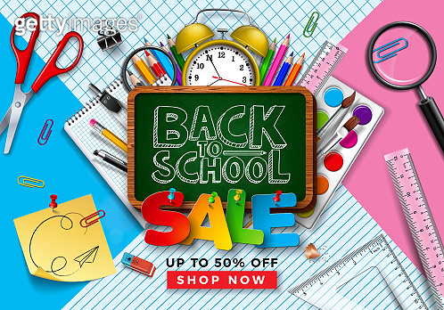 Back to School Sale Design with Colorful Pencil, Brush, Chalkboard and Other Learning Items on Square Grid and Line Background. Vector Illustration with Special Offer Typography Elements for Coupon, Voucher, Banner, Flyer, Poster or greeting card.