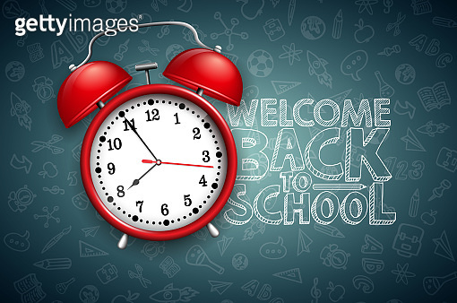 Back to school design with red alarm clock and typography on black chalkboard background. Vector education concept illustration for greeting card, banner, flyer, invitation, brochure or promotional poster.
