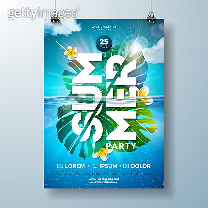 Summer party flyer design template with tropical palm leaves and flower on blue underwater ocean background. Vector holiday illustration for banner, invitation or celebration poster.