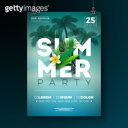 Vector Summer Party Flyer Design with Flower and Tropical Palm Trees on Blue Background. Summer Holiday Illustration with Exotic Plants and Typography Letter for Banner, Flyer, Invitation or Poster.