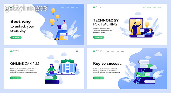 Online education landing page template set. Technology for learning concept.