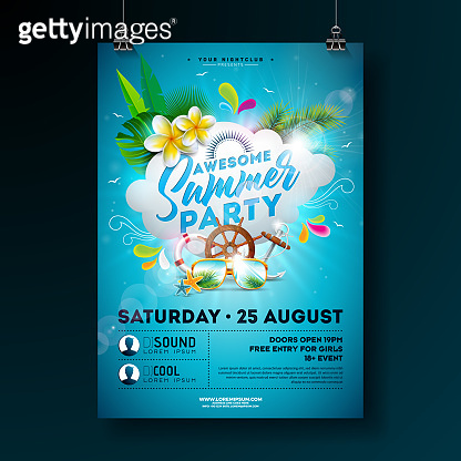 Vector Summer Party Flyer Design with flower, palm trees and sunglasses on ocean blue background. Summer nature floral elements, tropical plants and typographic elements. Design template for banner, flyer, invitation, poster.