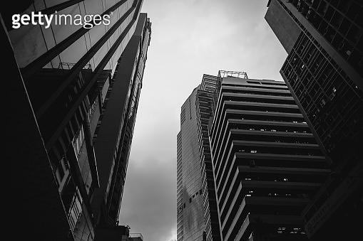 Modern Office Buildings in Hong Kong, Black and White color