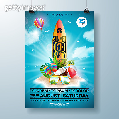 Summer Beach Party Flyer Design with flower, beach ball and surf board. Vector Summer nature floral elements, air balloon, tropical plants and typography letter on blue cloudy sky background. Design template for banner, flyer, invitation, poster.