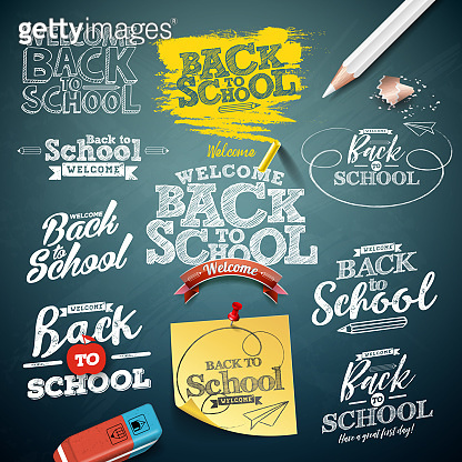 Back to school illustration with typography lettering set on chalkboard background. Vector education concept design collection for greeting card, banner, flyer, invitation, brochure or promotional poster.