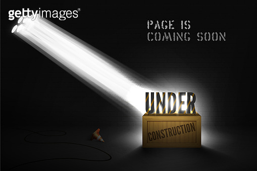 Banner Under construction on wood box in spotlights on black background. Website coming soon poster