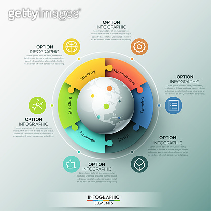 Modern infographic design layout, 6 connected jigsaw puzzle pieces located around globe