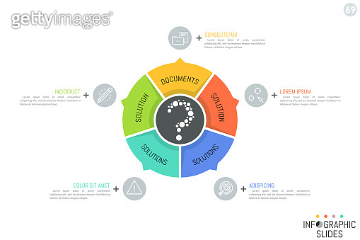 Round diagram divided into 5 multicolored sectoral elements with arrows pointing at icons and text boxes