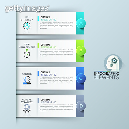 Infographic design template with 4 rectangular elements, options for business success