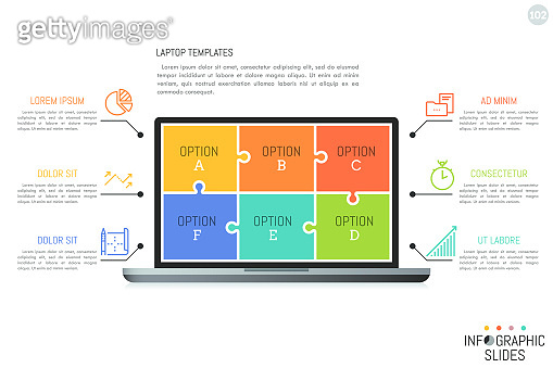 Minimal infographic design template with lettered options. Laptop screen divided into 6 colorful jigsaw puzzle pieces, icons and text boxes.