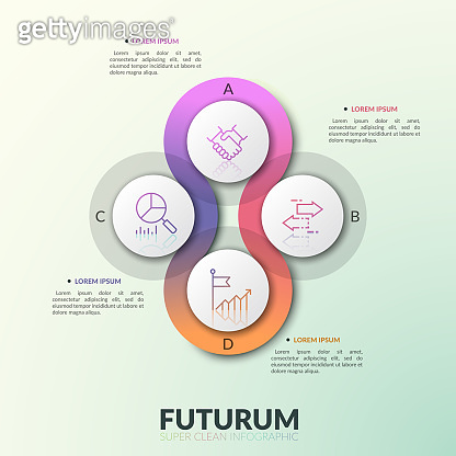 Four overlapping translucent round elements placed around center with letters and thin line pictograms inside. Modern infographic design template.