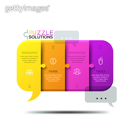 Modern infographic design template, jigsaw puzzle in shape of speech bubble
