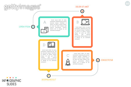 4 multicolored rectangular elements with icons, place for text inside and pointers. Minimal infographic design layout.