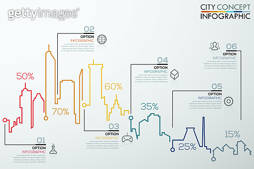 Modern infographic option banner with colorful city bar chart
