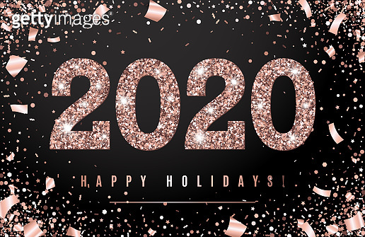 Happy Holidays Banner with glowing Rose Gold 2020 Numbers on black Background with Flying geometric and foil paper Confetti. Vector illustration. All isolated and layered