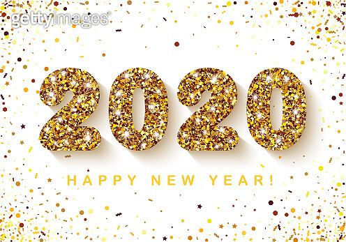 Festive Banner with glitter Gold 2020 Numbers on white Background with scattered geometric Confetti. Vector illustration. All isolated and layered