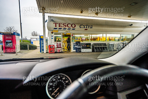 View of the Tesco Petrol station from inside the car