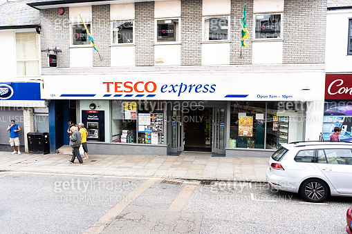 The Tesco Express store, shop in Penzance, Cornwall