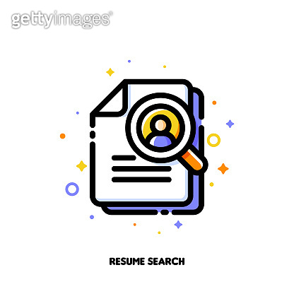 Icon of magnifying glass and resume for professional staff recruitment or searching efficient employees concept. Flat filled outline style. Pixel perfect 64x64. Editable stroke