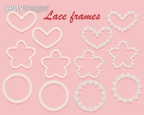 Set of white carved frames of various shapes. Ring, heart and flower of lace. Ornate vintage elements isolated on a pink background