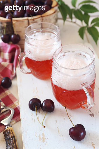 Light fruit craft beer and cherry