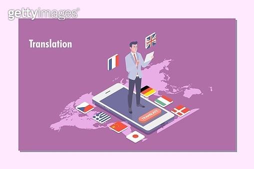 Online translator isometric flat vector illustration concept