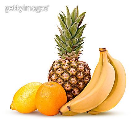 Lemon orange pineapple branch banana