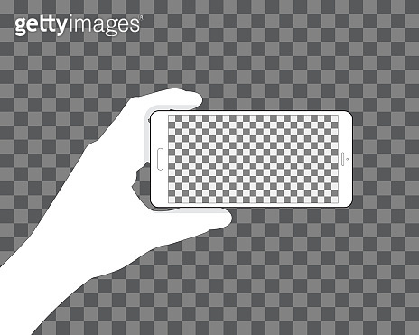 Hand holding phone, transparent background for your design