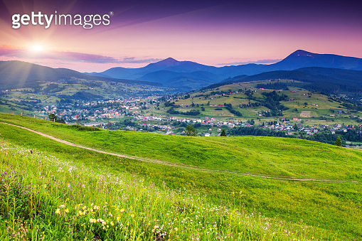 Beautiful summer landscape in the mountain village.