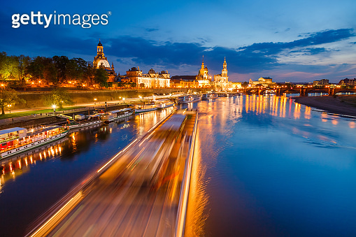 Magical evening view of embankment of the river Elbe. Dresden, Saxony, Germany,