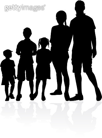 Family of silhouettes. vector work.