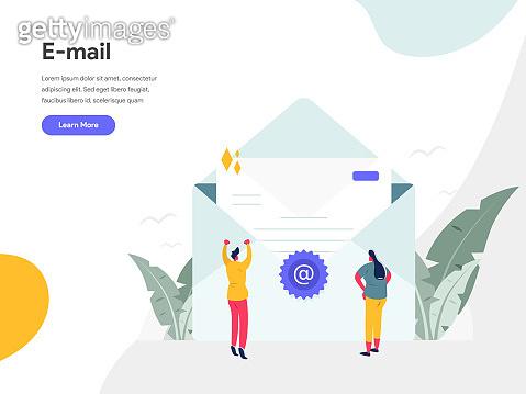 Email Illustration Concept. Modern flat design concept of web page design for website and mobile website.Vector illustration EPS 10