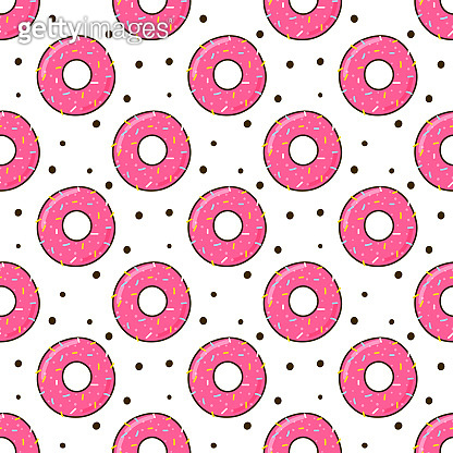 Seamless pattern with color donuts on a white background