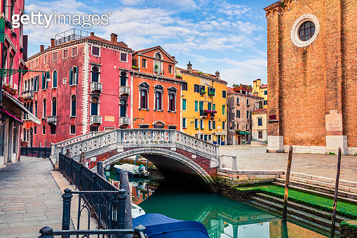 Beautiful spring view of Venice with famous water canal and colorful houses. Splendid morning scene in Italy, Europe. Magnificent Mediterranean cityscape. Traveling concept background.
