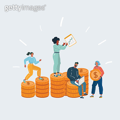 Man and woman standing on huge pile of money.