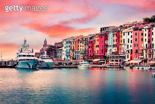 Unbelievable sunrise in Porto Venere town. Picturesque spring seascape of Mediterranean sea,  Liguria, province of La Spezia, Italy, Europe. Traveling concept background.