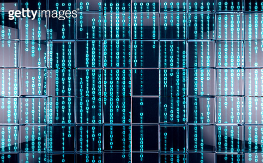 Matrix and binary language concept.Sceen and data number.