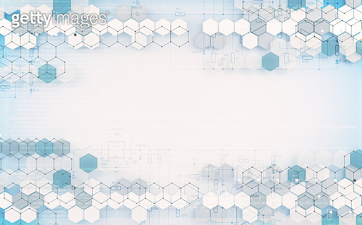 Abstract hexagon and data  background